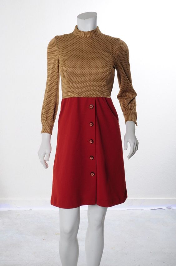 MAD MOD MEN Vintage 60s BRICK RED COLORBLOCK KNIT SCOOTER FLARE MINI DRESS S