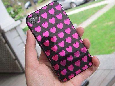 Pink & black heart phone case