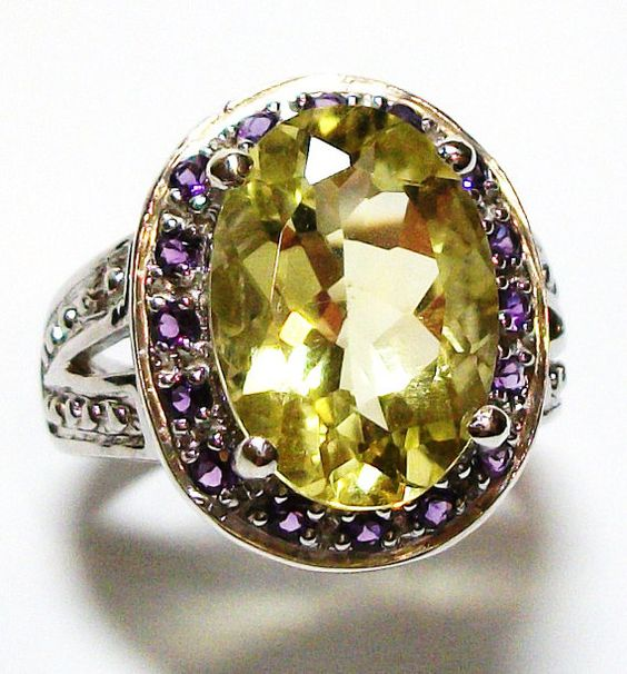 Sunflower quartz w/ amethyst accents ring s 6  by Michaelangelas, $79.50