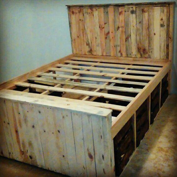 Base de cama con cajones tipo huacales y cabcera 100 de for Base cama individual con cajones
