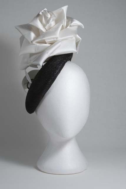 White rose hat by mark Garvie millinery