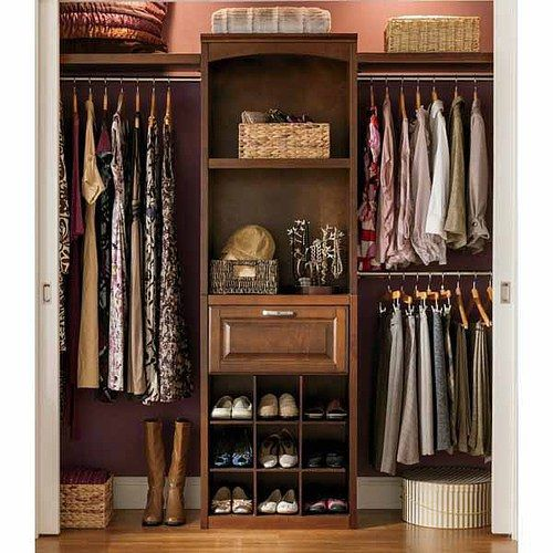 Lowe 39 s allen roth 8 ft wood closet kit sable master for Walk in wardrobe kits