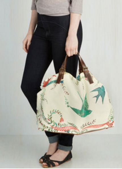 Canvas Weekender Bag with Turquoise Swallows