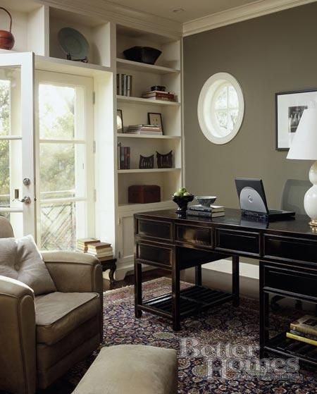 Colors For A Small Home Office: Black Desk, French Doors And Desks On Pinterest