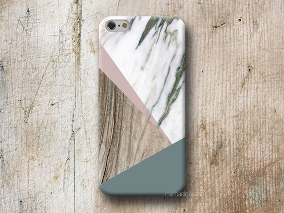 Beautiful geometric case Marble and Wood texture in grey and pink tones. Phone Case available for iPhone Samsung Galaxy LG Sony HTC Huawei Moto  WOOD and MARBLE cases are made from 100% recycled...