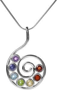 Sterling Silver Chakra Life Spiral Necklace