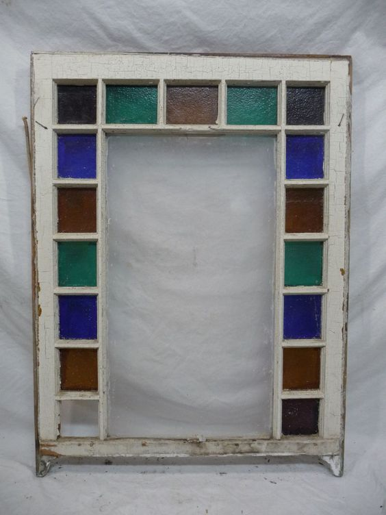 Antique Stained Glass Window Sash Circa 1890 Queen Anne