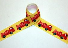 Red Fire Trucks 7/8 Grosgrain Ribbon 3 YARDS for hairbows, crafts, sewing
