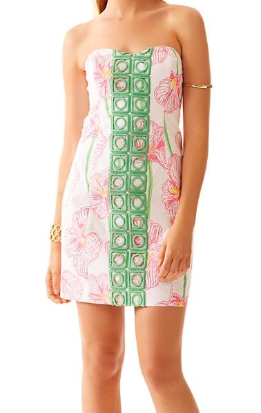 Lilly Pulitzer Angela Strapless Dress in Resort White Clover Cup- love this floral pink & green print
