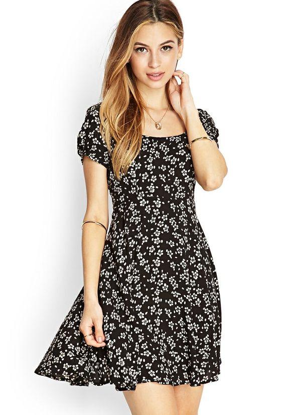 vestido skater preto floral - http://vestidododia.com.br/modelos-de-vestido/vestidos-skater/vestidos-skater/: