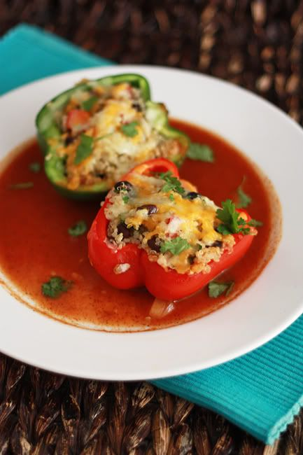 mexican stuffed peppers with quinoa & black beans: Health Food, Enchilada Sauce, Black Beans, Enchilada Stuffed, Stuffed Bell, Quinoa Stuffed Peppers, Mexican Stuffed Peppers, Pepper Enchilada