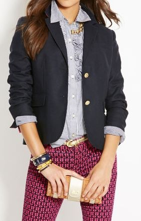 "Blazer and patterned pants, ""adopted"" by www.cosmeticsdelux.blogspot.com"