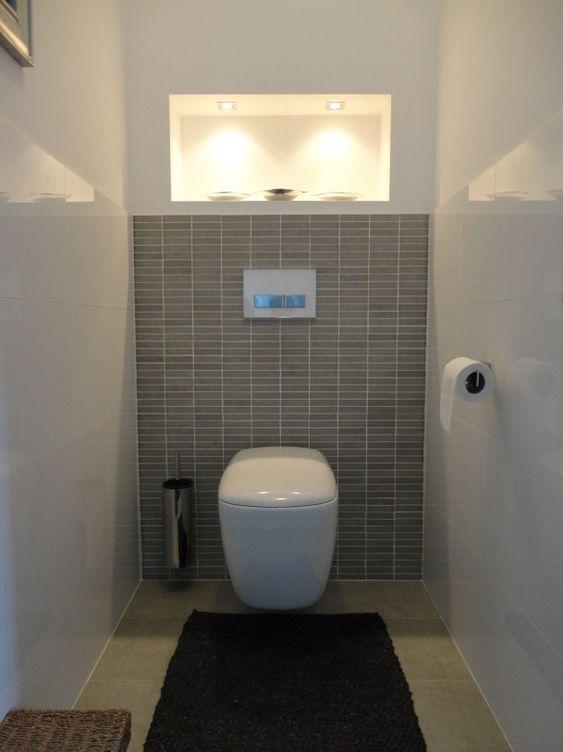 Carreau gris lumi re arri re toilette pinterest toilettes tag res encastr es et toilette - Faience voor wc ...