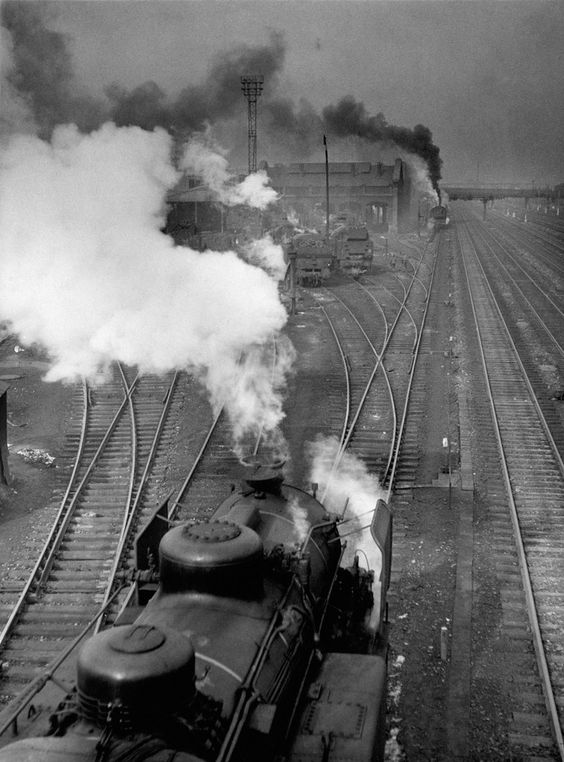 Railways, le Bourget, France in 1946 by Robert Doisneau • part of 47 images by Doisneau that has never been published; found in the boxes of the Rapho Photo Agency • in celebration of Doisneau's 100th birthday