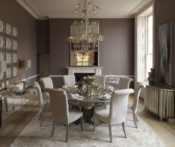 Elegant Grey And Taupe Living Room: Taupe Walls With Antique Mirroring