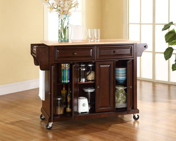 Simple Kitchen Carts to Substitute Kitchen Island -  http://ipriz.com/simple-kitchen-carts-to-substitute-kitchen-island/  http://ipriz.com/wp-content/uploads/2014/05/divine-natural-wood-top-kitchen-cart-island-in-vintage-mahogany-970x776.jpg