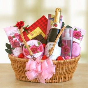 She will be tickled pink by this ultimate romantic gift!  Filled with the exquisite Rose Floral Bath & Body Collection products.    Includes:    Moisturizing body butter  Milled bath bar  Moisturizing rose shower gel  Body lotion  A bottle of Sonoma sparkling cider  A Ghirardelli chocolate raspberry bar  Sweet English tea cookies