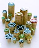 Button Stamps: Wrapping Paper, Clay Stamp