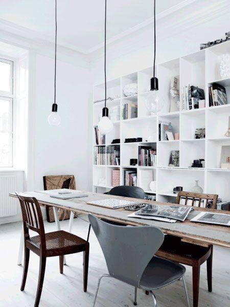Home office / work space in the lovely Copenhagen apartment of an architect. Tia Borgsmidt / Mette Helena Rasmussen.