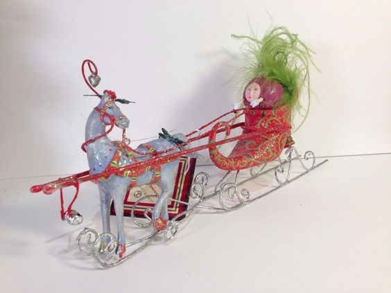 Patience Brewster ONE HORSE OPEN SLEIGH Shoe Krinkles Ornament w/ box #796906