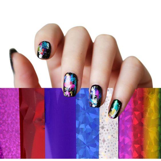 eshion 50 pcs Nail Foil Sticker Nail Art Foils Polish Decal Manicure ...