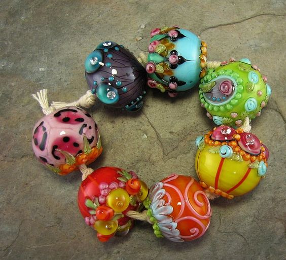 Bollywood Chunkies Gurjari Lampwork Bead Set by flamekeeper, $85.00
