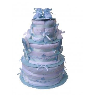 """Gâteau de couches """"J'aime Maman et J'aime Papa"""" pour Jumeaux !!! Bodies, chaussons, bavoirs en double Bleu ou blanc, les bébés seront équipés pareillement et différemment à la fois !! Set de coiffure, rubans et décorations mini biberons, tout bleu / blanc"""