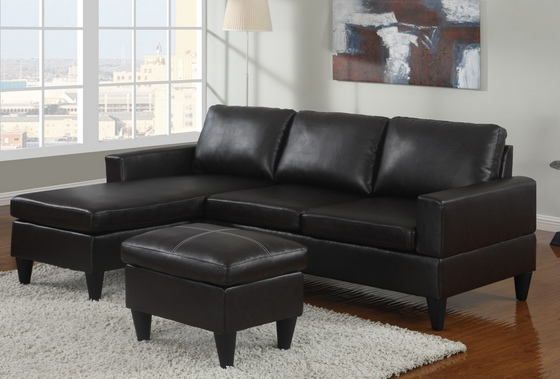 Poundex F7297 3 Pc Black Faux Leather Small Space Sectional Sofa With Reversible Chaise And Leather Like Vinyl Ottoman Small Space Sectional Sofa Small Leather Sofa Sectional Sofa