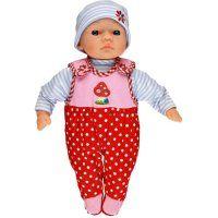 Babypop Millie is zo leuk met haar polkadot broekpakje! En ze past in de prachtige poppen draagzak van spiegelburg.