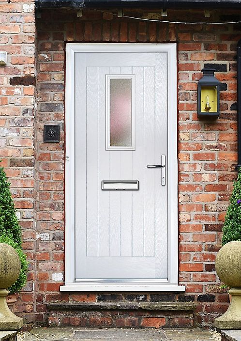 Composite Cottage White Pvcu Grp Glazed External Front Door Frame Lh H 2055mm W 920mm External Front Doors Cottage Front Doors Composite Front Door