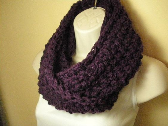 Deep Purple Cowl Infinity Circle Scarf Neckwarmer by madebymandy35, $25.00