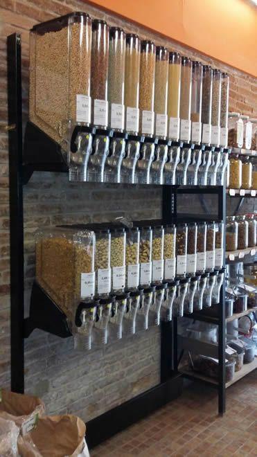 Dispensadores De Venta A Granel Gravity Bins Modelo 0001 Estanterias Para Tiendas Diseño De Tienda De Café Tiendas Organicas