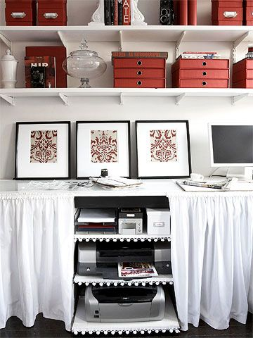 ets  Instead of buying a custom-built desk, build your own. To make a small room live bigger, designate an entire wall to be your desk area. Install sliding shelves to keep your printer, scanner, and paper products out of sight. Consider finishing your desk with privacy curtains to disguise what's under your desk.