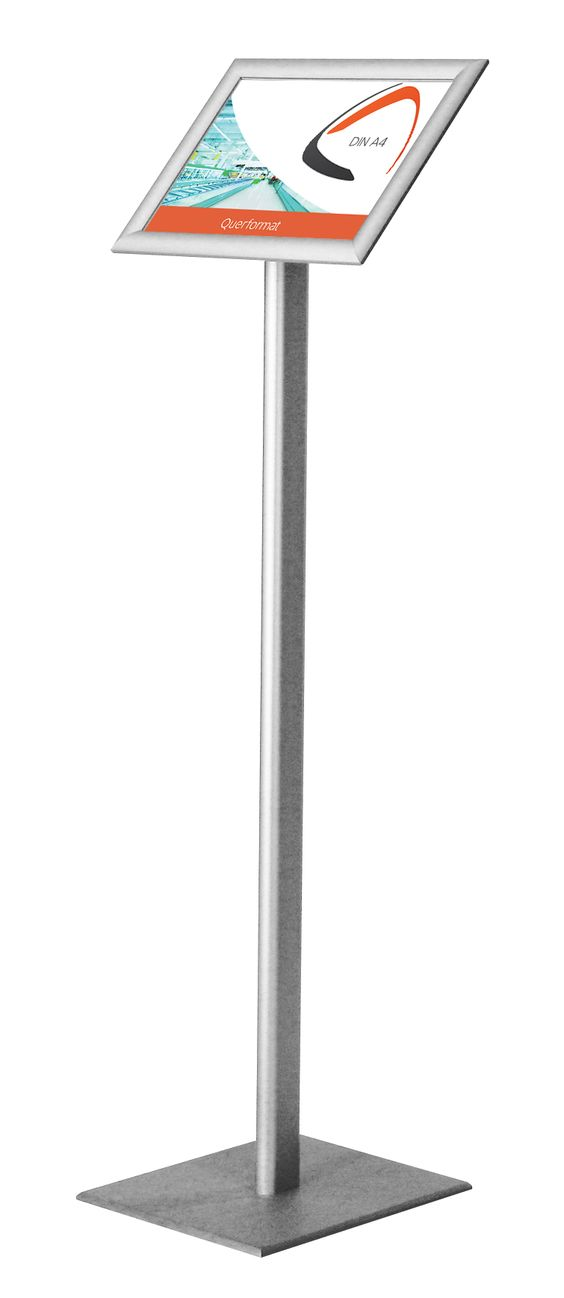 Der dezente Infoständer in klassischer Ausführung aus hochwertigem Aluminium. Der Infoständer ist mit einem DIN A4 Klapprahmen, wahlweise mit verchromten Rondo-Ecken oder mit spitzen Ecken (Gehrung) ausgestattet, welches...