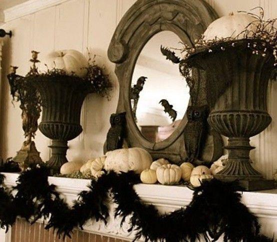 Elegant Halloween Decoration Ideas: Pumpkins, Mirror Inspiration And Feather Boas On Pinterest