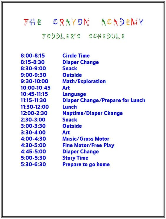 Toddler schedule idea everything kiddos pinterest for Child care daily routine template