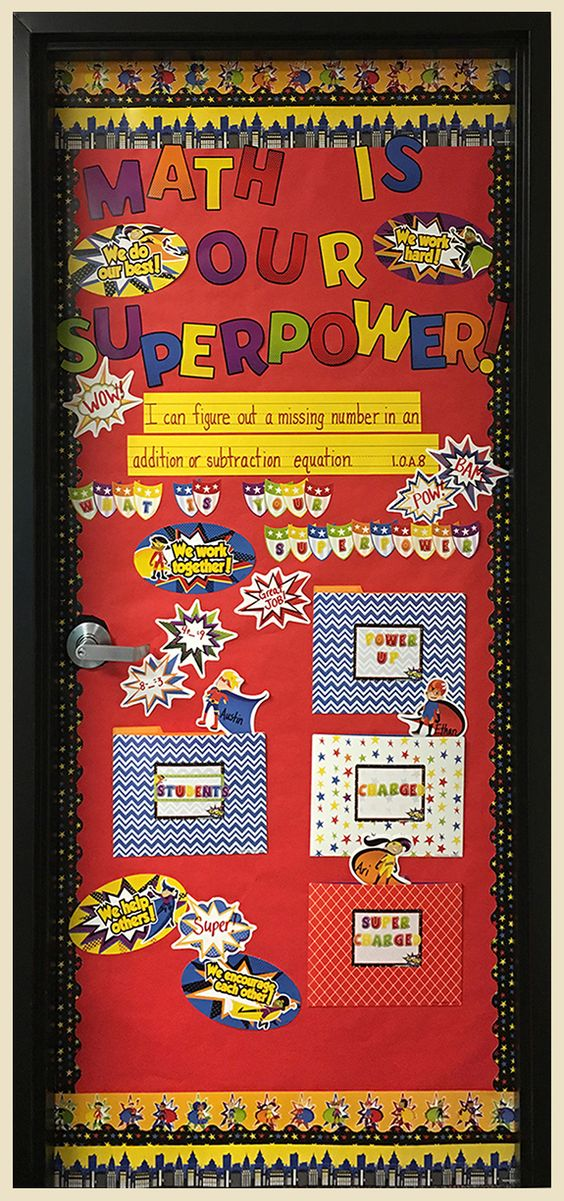 Super Power Math Door Decor. Help your students develop a love for Math with our Super Power Door Decor.