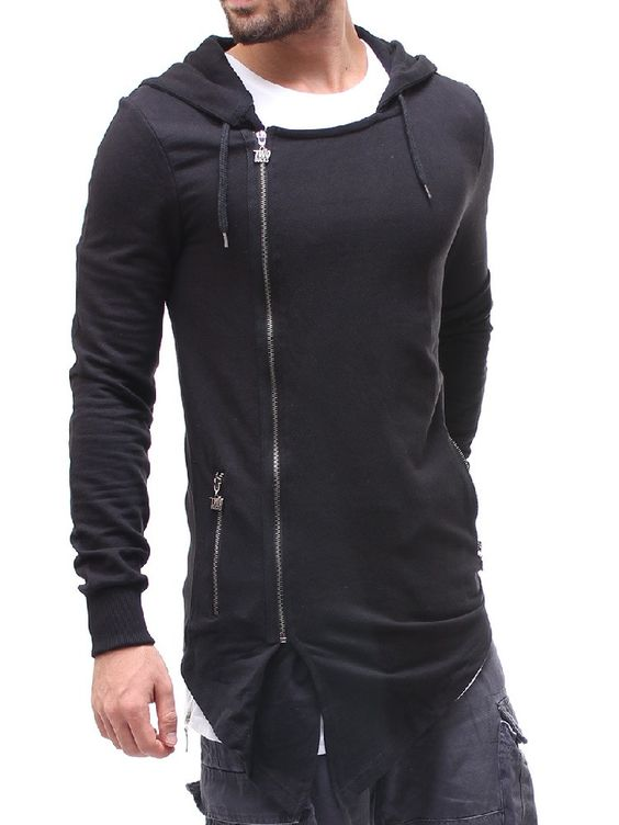T&B Men Stylish Asymmetrical Long Hoodie - Black | MEN SUITS ...