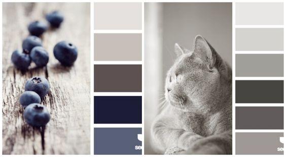 dunkle neutrale Farben wie Grau, Braun und Blau für die Küche