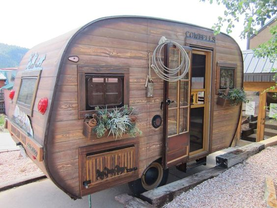 Love the faux wood siding rvs pinterest love love the and woods - The recreational vehicle turned cabin in the woods ...