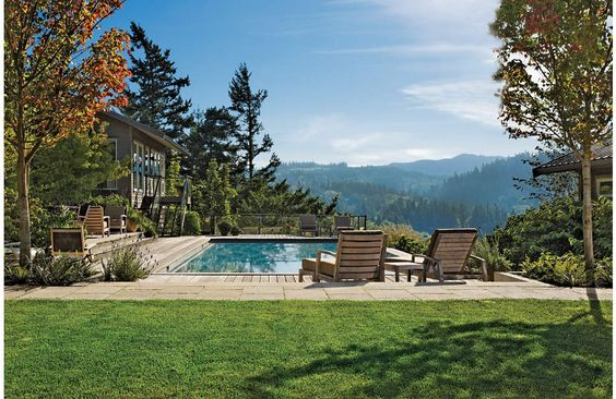 Pool and woodland landscape: Swimming Pools, Pools Luxe, Backyard Design, Pool Luxesource, Houses Luxesource, Homedecor Poolside, Balcony Luxesource, Luxemag Interior Design, Pool House Pools