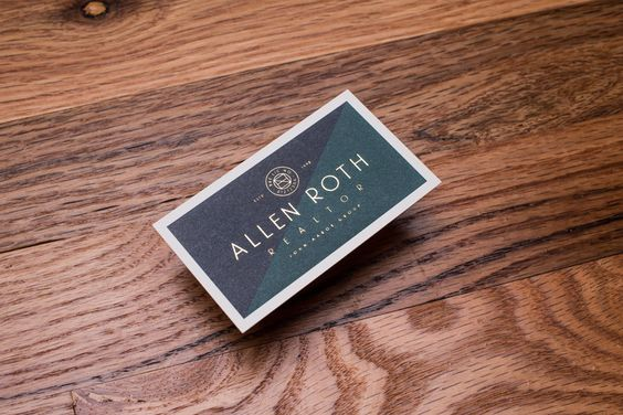 Gold foiled business card for Allen Roth designed by Mast.