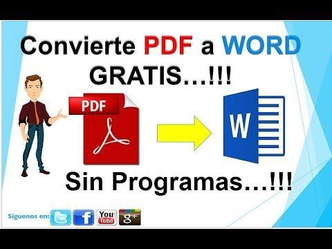 Como Convertir Pdf A Word Sin Programas Youtube Clases De Computacion Informatica Y Computacion Actividades Interactivas