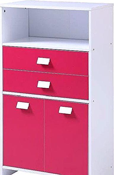 Top Meuble Bas De Salle De Bain L 60 Cm Blanc Et Fushia In 2020 Filing Cabinet Furniture Home Decor