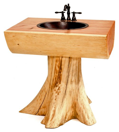 Tree Vanity, Stump Log Pedestal Sink, Solid Wooden Slabs Woodland ...