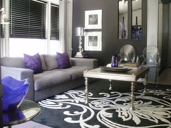 Image detail for pops of violet black white and silver for Black and purple living room ideas