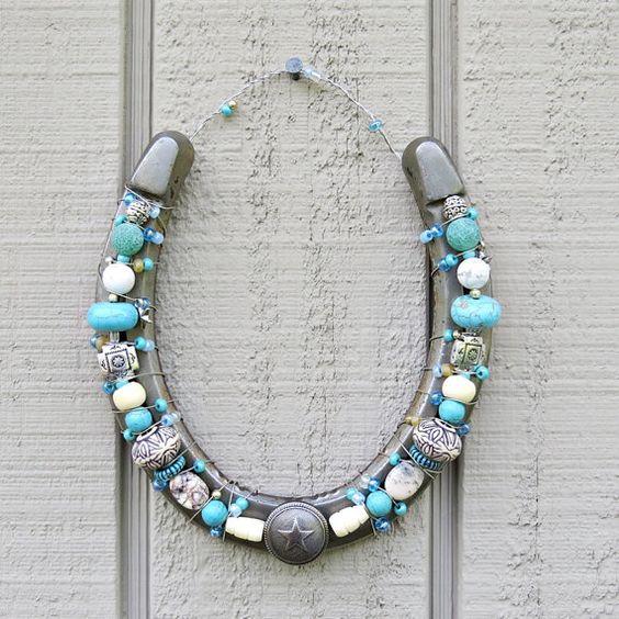 Beaded decorative horseshoe with white turquoise by MadeinZena
