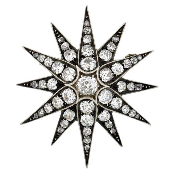 1stdibs.com | Victorian Diamond Starburst Pin/Pendant 4.90ctw