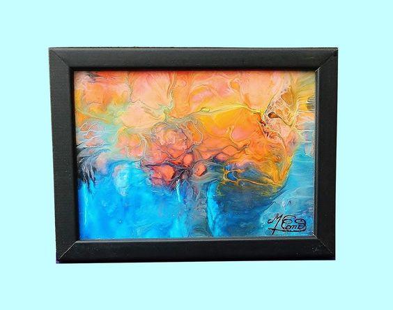 tableau encadré et sous verre abstrait peinture acrylique ARBRE MAGIQUE