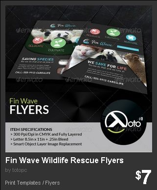 Fin Wave Wildlife Rescue Flyers - Fin Wave is a web banner specialized for animal rescue, cultivation and preservation. Invoke animal rights with Fin Wave!